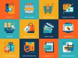Conjunto de ícones de compras e comércio eletrônico