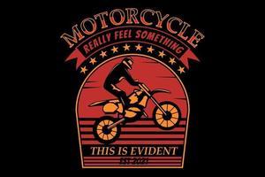 t-shirt silhueta motocicleta estilo vintage retro vetor