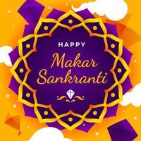 Feliz Makar Sankranti modelo de saudação. vetor