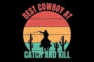 t-shirt silhueta cowboy deserto estilo retro vintage vetor