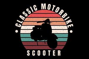 t-shirt silhueta scooter retro estilo vintage vetor