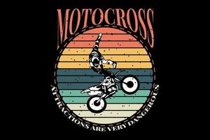 t-shirt silhueta motocross atração retro vintage vetor