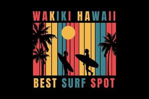 camiseta surfando na praia havaí melhor spot de surf vetor
