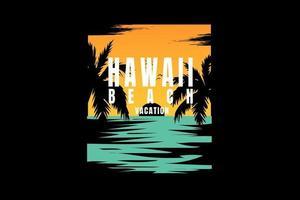 t-shirt praia havaí férias nascer do sol vetor