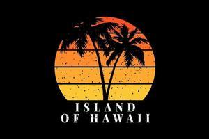 t-shirt praia silhueta coqueiro ilha do havaí vetor