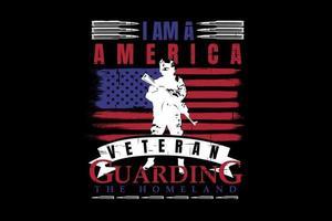 t-shirt tipografia silhueta veterano america vintage vetor