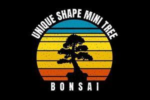 silhueta de t-shirt árvore bonsai planta forma vetor