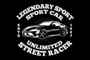 t-shirt tipografia carro esporte corrida lendária vintage vetor