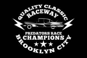 t-shirt tipografia raceway brooklyn city campeões estilo vintage vetor