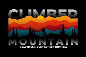 t-shirt alpinista pinheiro da montanha pôr do sol vetor
