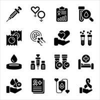 conjuntos de ícones de glifo de hiv e ajuda vetor