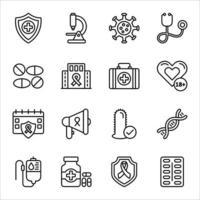 conjuntos de ícones de linha de ajuda e hiv vetor