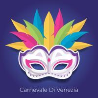 Máscara de carnaval com ilustração vetorial de penas coloridas vetor