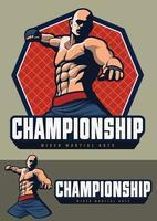 design de lutador mma para crachá e logotipo, tudo está em camadas separadas. vetor
