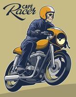 ilustração em vetor cafe racer para elementos do logotipo. capacete pode ser removido.