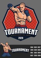design de lutador mma para crachá e logotipo vetor