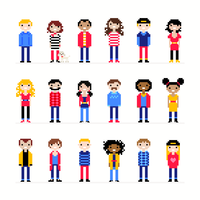 Personagens casuais Pixel Art vetor