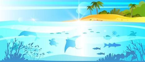 banner de férias de verão, fundo de mergulho subaquático no oceano, ilha tropical, arraia, golfinho vetor