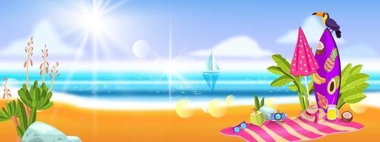 banner de férias de verão com oceano, areia, plantas tropicais, tucano, prancha de surf, guarda-chuva, toalha vetor