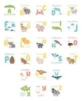 cartaz de alfabeto fofo com animais dos desenhos animados. Ilustrações de zoológico de jacaré búfalo caranguejo golfinho peixes girafa hipopótamo coala leão muskox avestruz pinguim rinoceronte baleia tigre vetor
