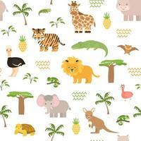 safari verão animais sem costura padrão. vetor fofo camaleão, crocodilo, leão, tigre, elefante, flamingo, girafa, morcego, canguru, avestruz, baobá, palma, plantas