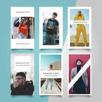 Modelo de vetor plana moderna moda elegante histórias Instagram