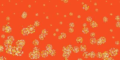 luz laranja vector lindo cenário de flocos de neve com flores.