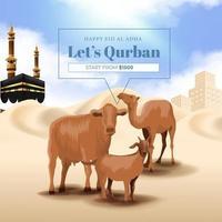 promoção de sacrifício de animais para festa islâmica de eid al adha mubarak com ilustração de cabra, vaca e camelo vetor