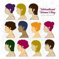 dia internacional da mulher com várias coleções de corrida feminina vetor