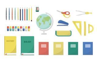 conjunto de escola apontador de lápis lápis canetas triângulo régua transferidor borracha o globo livro didático tutorial manual livro escolar caderno isolado no fundo branco vetor