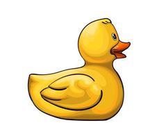 brinquedo de pato amarelo. pato de borracha inflável de um toque de aquarela, desenho colorido, realista. ilustração vetorial de tintas vetor