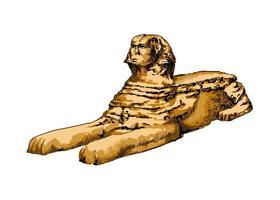 grande esfinge de Gizé de um toque de aquarela, desenho colorido, realista. ilustração vetorial de tintas vetor