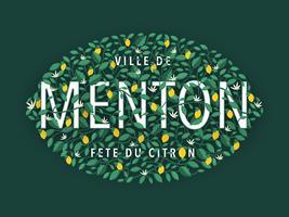 Menton France Lemon Festival Tipografia Design vetor
