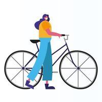 mulher usando máscara médica andando de bicicleta vetor