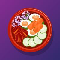 Poke Bowl Ilustração de comida vegetariana saudável vetor