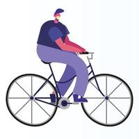 homem usando máscara médica andando de bicicleta vetor