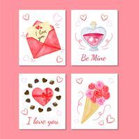 Lindo dia dos namorados coleção de cartões vetor