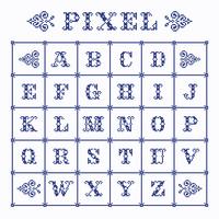 Alfabeto decorativo do pixel do vetor