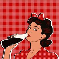 Levanta a menina bebendo refrigerante pop art estilo retro. vetor