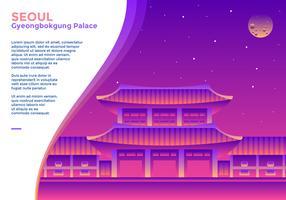 Banner do Gyeongbokgung Palace em Seul vetor