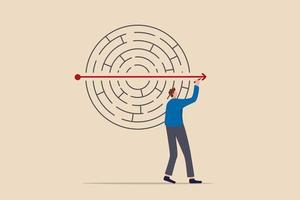 resolvendo problemas de negócios, criatividade ou imaginação para pensar sobre solução, estratégia e planejamento para conceito de sucesso de negócios, empresário resolver labirinto ou labirinto quebra-cabeça por uma seta em linha reta. vetor