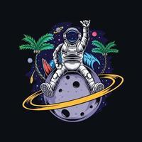 astronauta sentado no planeta Saturno com coqueiros e uma praia de verão no espaço sideral vetor