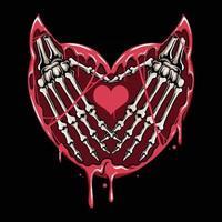 a mão do crânio e coração do diabo, e o sangue gotejando e dilacerando vetor