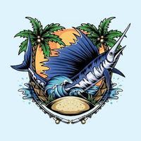peixe marlin na praia com coqueiros e ondas do mar e vetor pescador com camada de cor editável