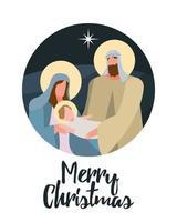 letras de feliz natal feliz com cena de família sagrada vetor