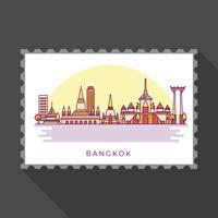 Marcos modernos de Bangkok plana na ilustração em vetor de carimbo