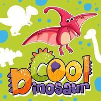 personagem de dinossauro fofo com design de fonte para a palavra dinossauro legal vetor