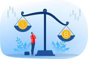 a moeda com o símbolo bitcoin supera as moedas de dólar, a criptomoeda, a taxa de câmbio. uma ilustração vetorial em estilo simples. vetor