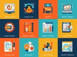 Conjunto de ícones de economia de mercado global