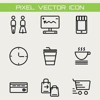 conjunto de 9 ícones básicos de compras delineiam ícones de linhas finas, como computador humano bebendo e sacola de compras e carrinho vetor